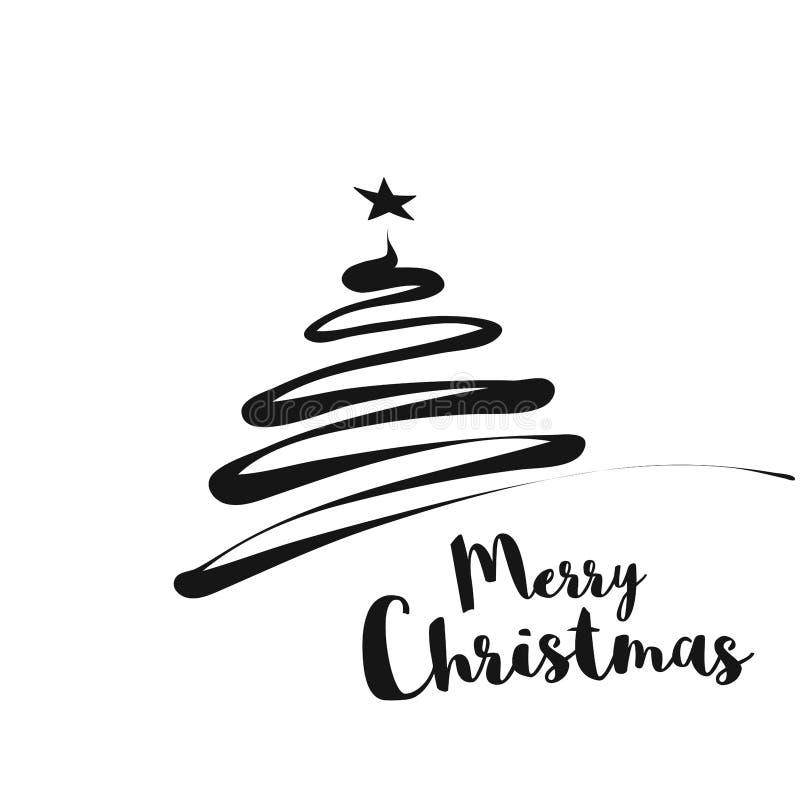 Linha Art Christmas Tree Greetings Card ilustração stock