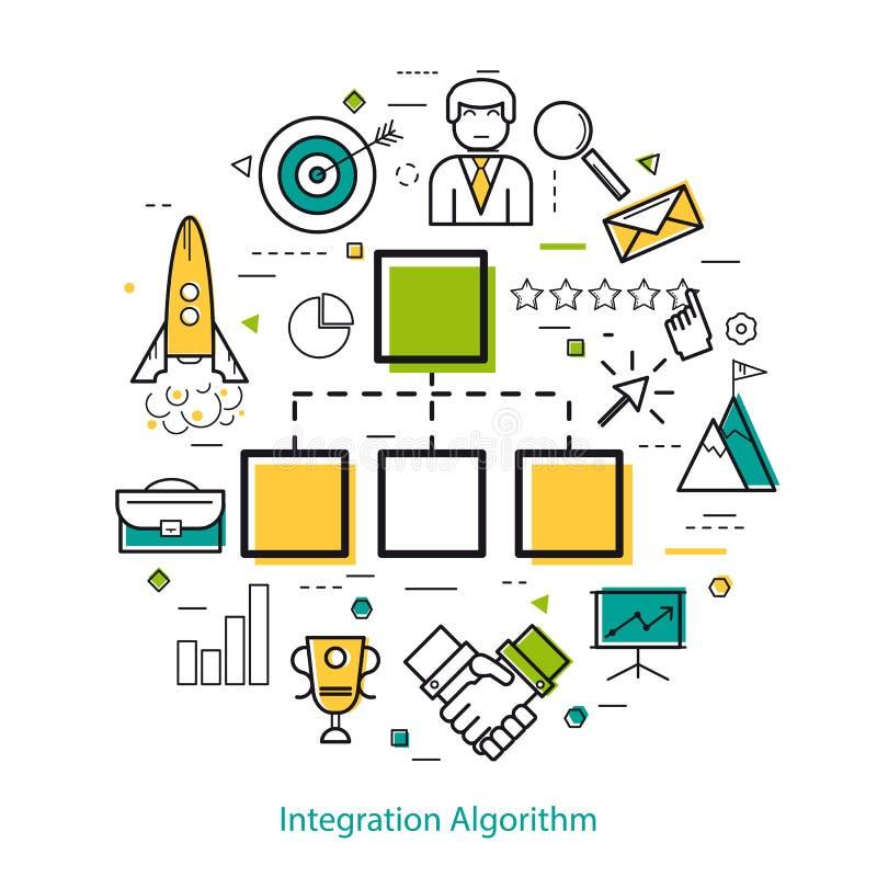 Linha Art Concept - algoritmo da integração ilustração royalty free