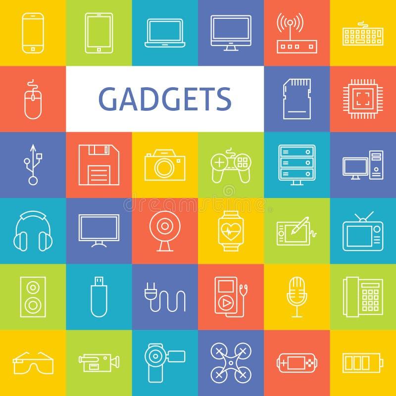 Linha Art Electronic Gadgets Icons Set do vetor ilustração do vetor