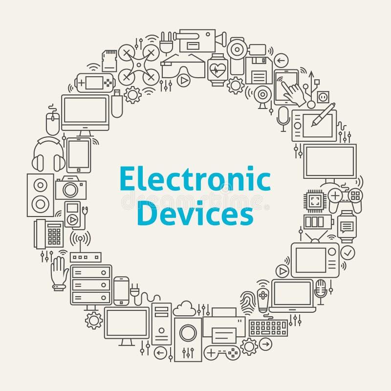 Linha Art Icons Set Circle dos dispositivos eletrónicos ilustração royalty free