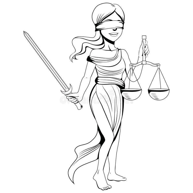 Linha Art Lady Justice ilustração stock