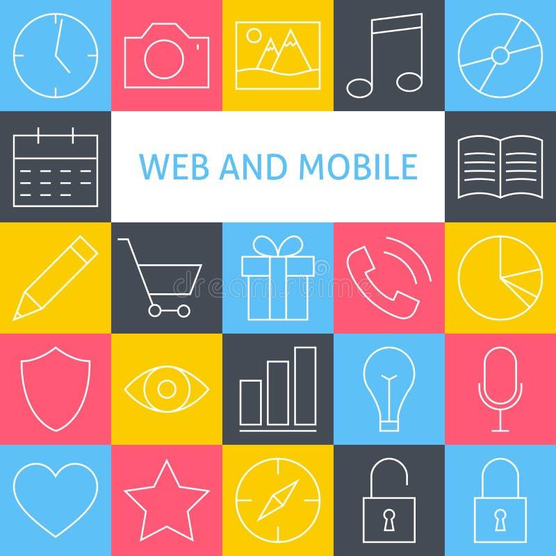 Linha Art Modern Website do vetor e ícones móveis S da interface de utilizador ilustração do vetor