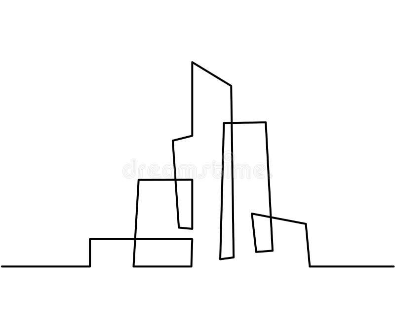 Linha Art Silhouette da arquitetura da cidade da construção ilustração do vetor