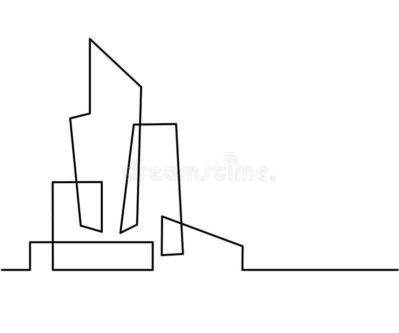 Linha Art Silhouette da arquitetura da cidade da construção ilustração royalty free