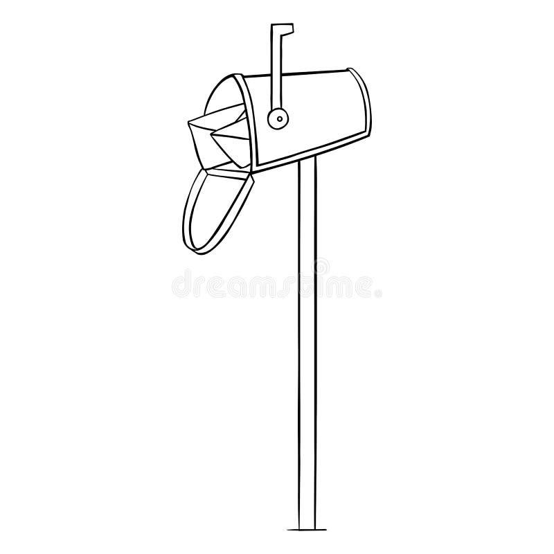 Linha Art Single Mailbox do vetor ilustração stock
