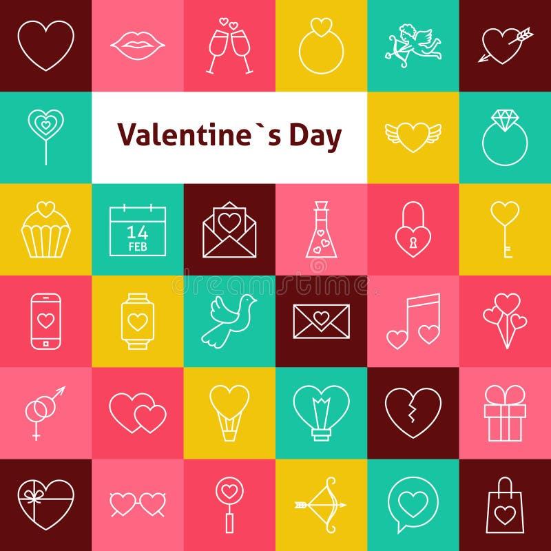 Linha Art Valentine Day Icons Set do vetor ilustração stock