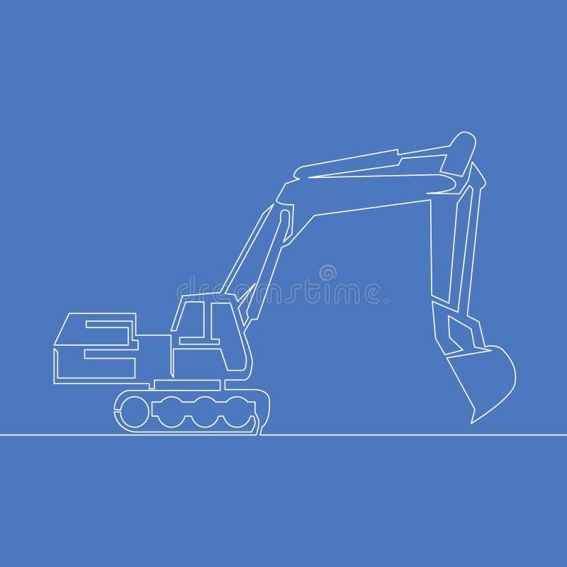 Linha arte contínua ou uma linha conceito da ilustração da construção do vetor de Drawingbackhoe ilustração royalty free