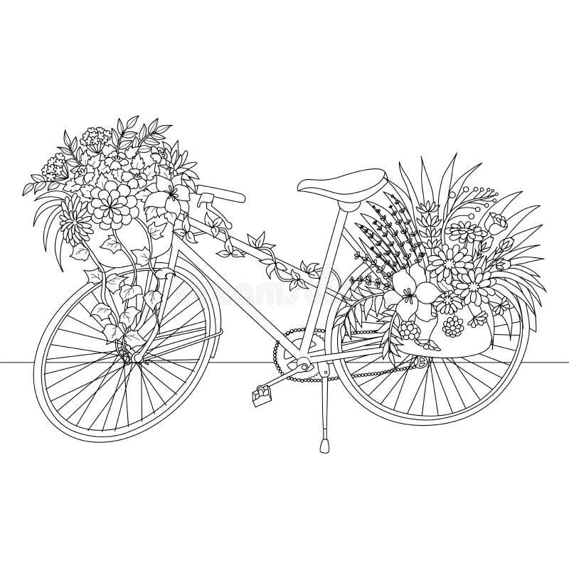 A linha arte de bicicleta decora com as flores para o elemento do projeto Ilustração do vetor ilustração royalty free