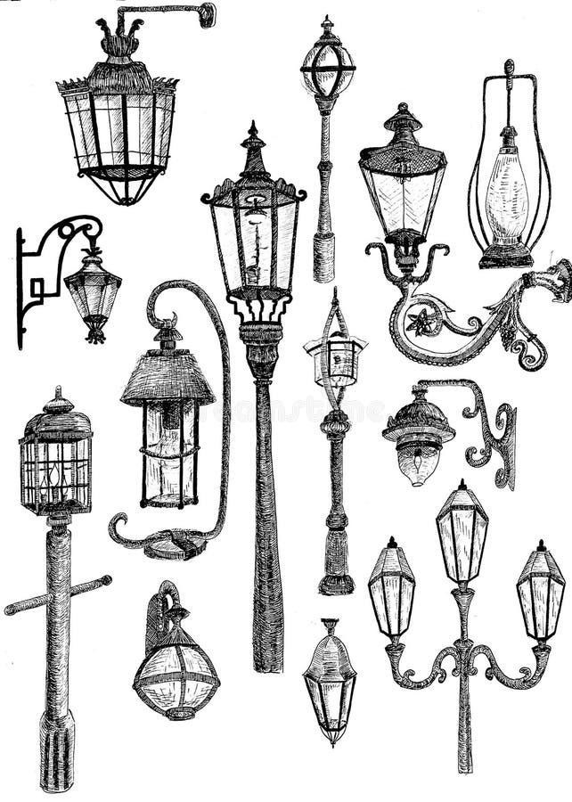 Linha arte de lâmpadas de rua fotografia de stock royalty free