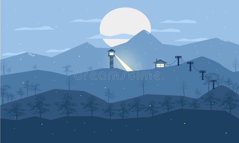 Linha arte de Landsape da neve imagens de stock royalty free