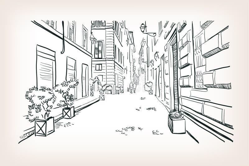 Linha arte do esboço do vetor da rua de Roma Europa ilustração stock