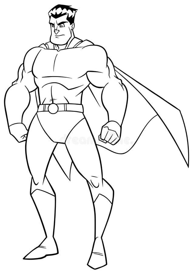 Linha arte do relógio do super-herói ilustração do vetor