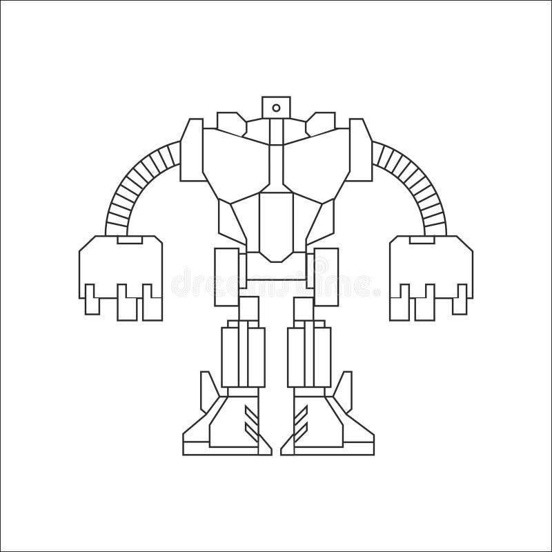 Linha arte do robô ilustração stock