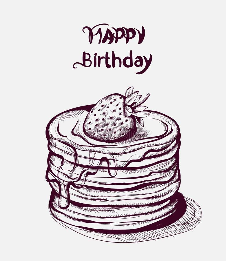 Linha arte do vetor do bolo do feliz aniversario Sobremesas velhas do estilo do vintage do efeito ilustração royalty free