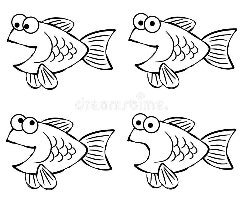 Linha arte dos peixes dos desenhos animados ilustração do vetor