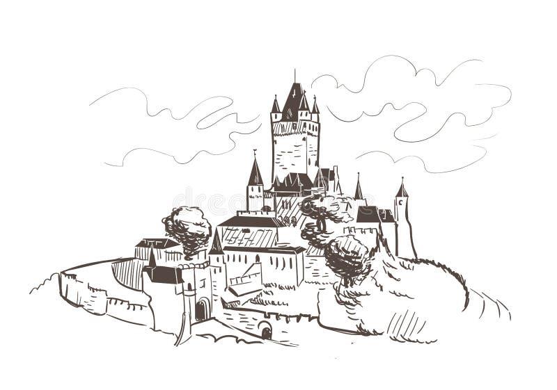 A linha arte isolou o esboço do vetor do castelo de Reichsburg ilustração stock