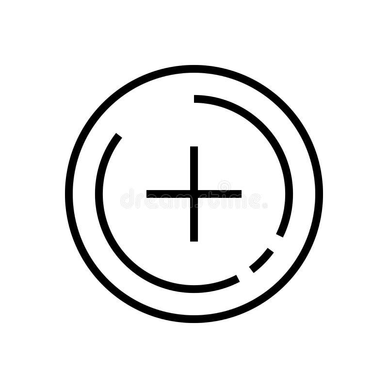 Linha arte Linha positiva ícone do sinal do vetor Adicione o símbolo ilustração stock