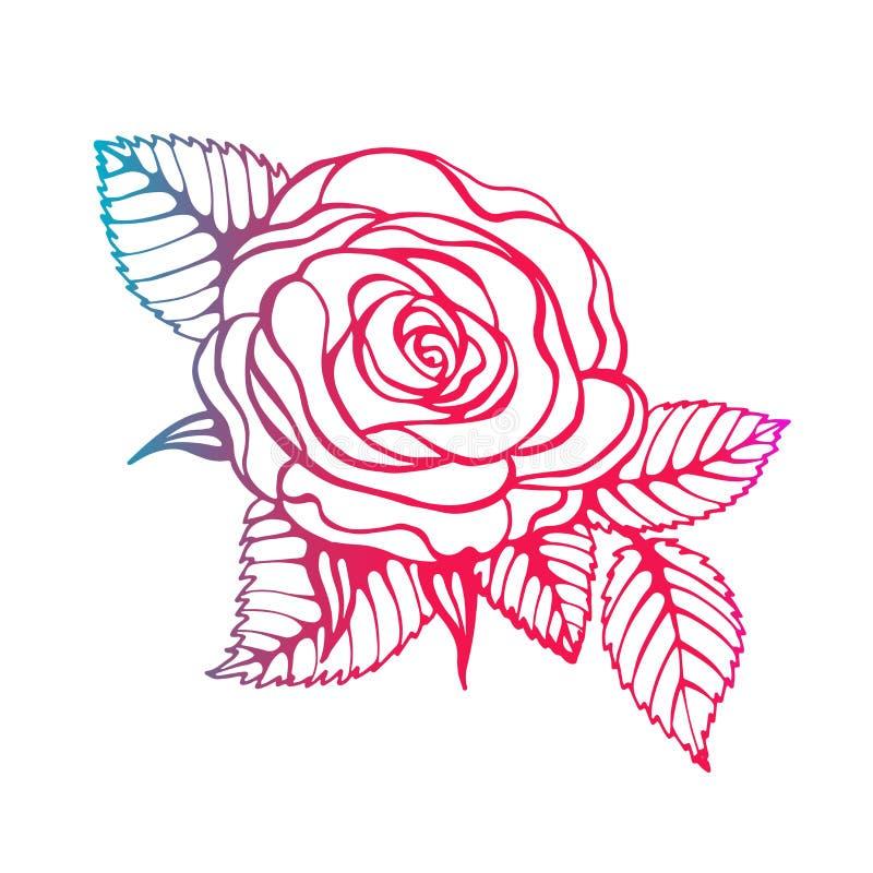 A linha arte preta bonita aumentou e as folhas Arranjo floral isolado no fundo cart?o e convite do ilustração do vetor