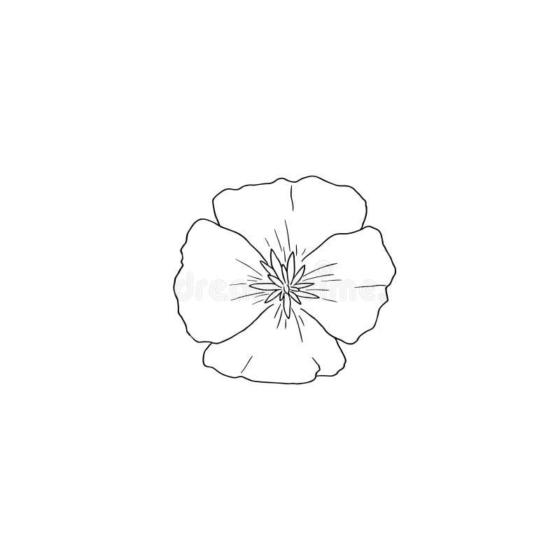 Linha arte preta para Califórnia Poppy Flower no vetor ilustração stock