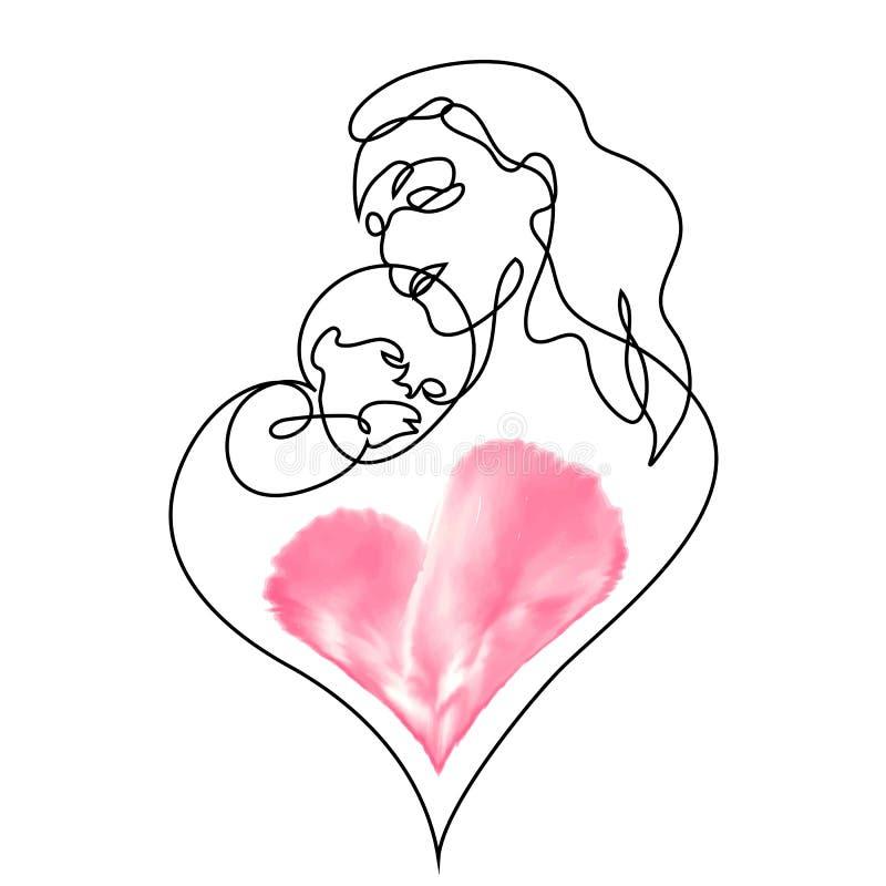 Linha arte simples de uma mãe que guarda seu bebê ilustração royalty free