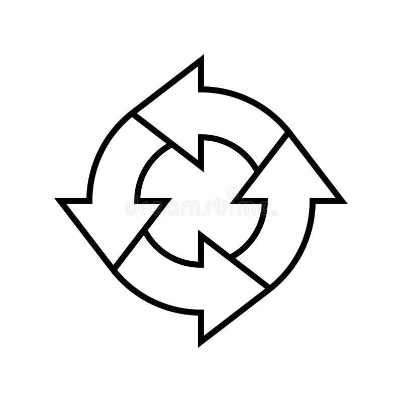 A linha arte simples recicla o vetor do sinal com um laço da seta no fundo branco ilustração do vetor