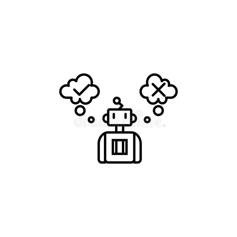 Linha artificial ícone do conceito da inteligência da decisão Ilustração simples do elemento Esboço artificial do conceito da int ilustração royalty free