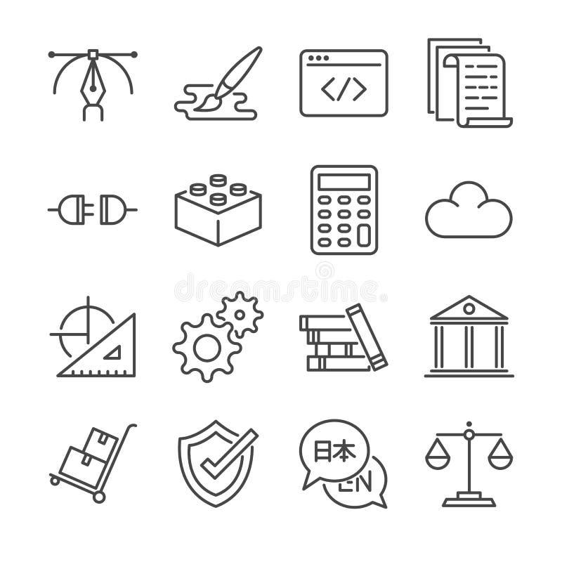 A linha autônomo ícone dos trabalhos ajustou 1 Incluiu os ícones como o projeto gráfico, codificação, logística, traduzem-nos, de ilustração do vetor