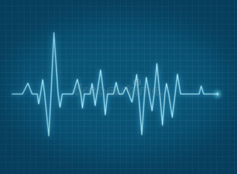 Linha azul da pulsação do coração do pulso de ECG ilustração royalty free