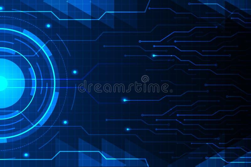 A linha azul do círculo e do circuito no vetor futurista do fundo do hud da tecnologia abstrata projeta ilustração stock