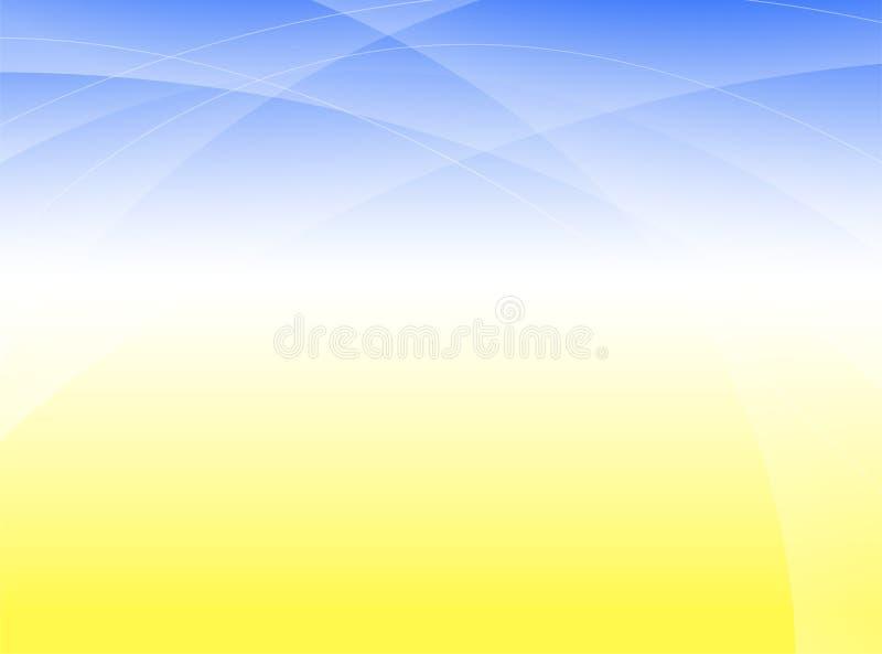 Linha azul do sumário da onda e vetor amarelo do fundo ilustração do vetor