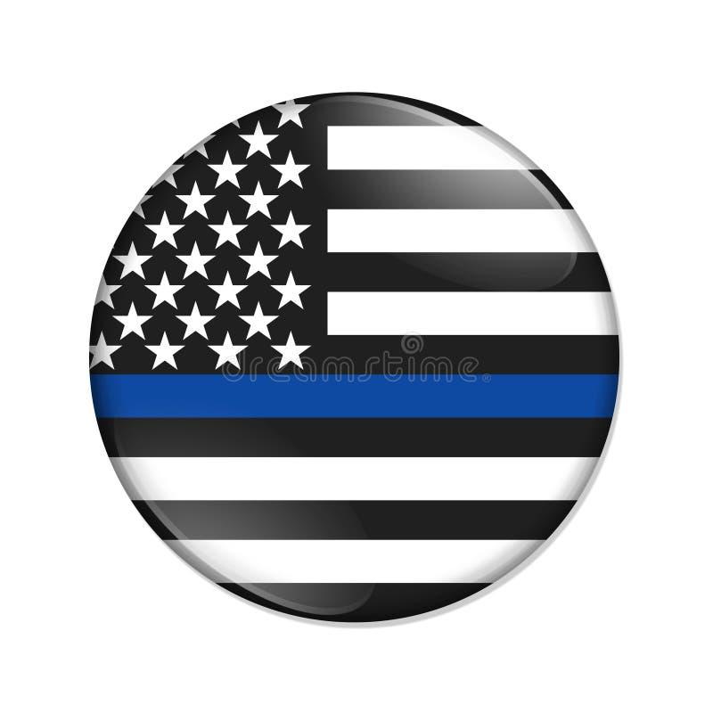 Linha azul fina americana botão do crachá ilustração do vetor