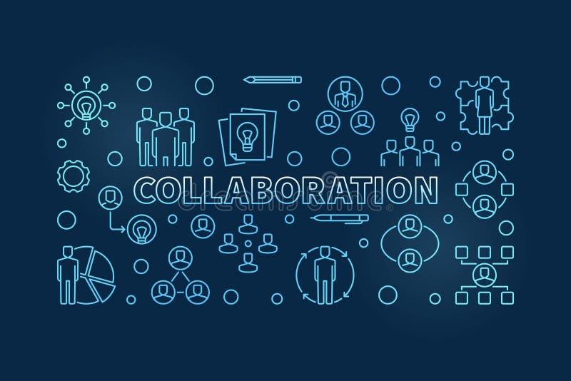 Linha azul ilustração ou bandeira do vetor da colaboração do negócio ilustração do vetor