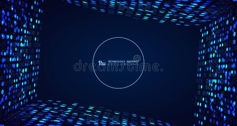 Linha azul larga do teste padrão de pontos do círculo da tecnologia do sumário de fundo digital da tampa Vetor eps10 da ilustra?? ilustração royalty free