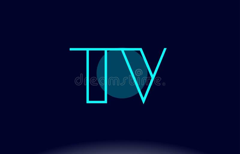 linha azul vecto da tevê t v do molde do ícone do logotipo da letra do alfabeto do círculo ilustração royalty free