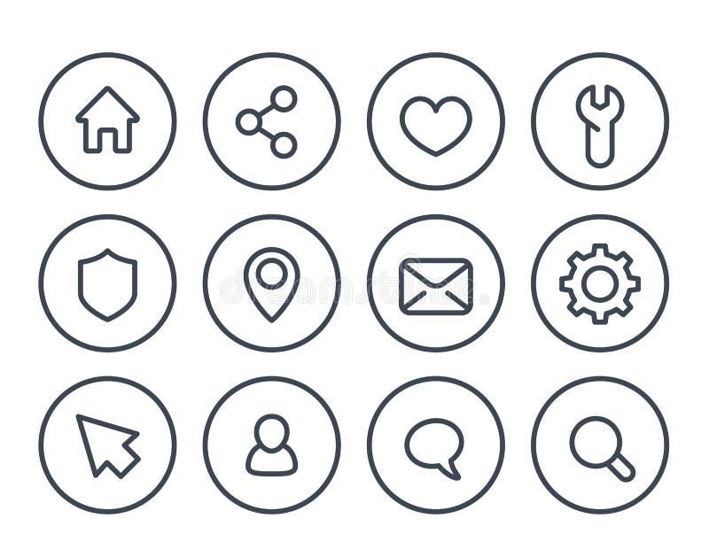 Linha básica ícones para a Web e os apps ilustração royalty free