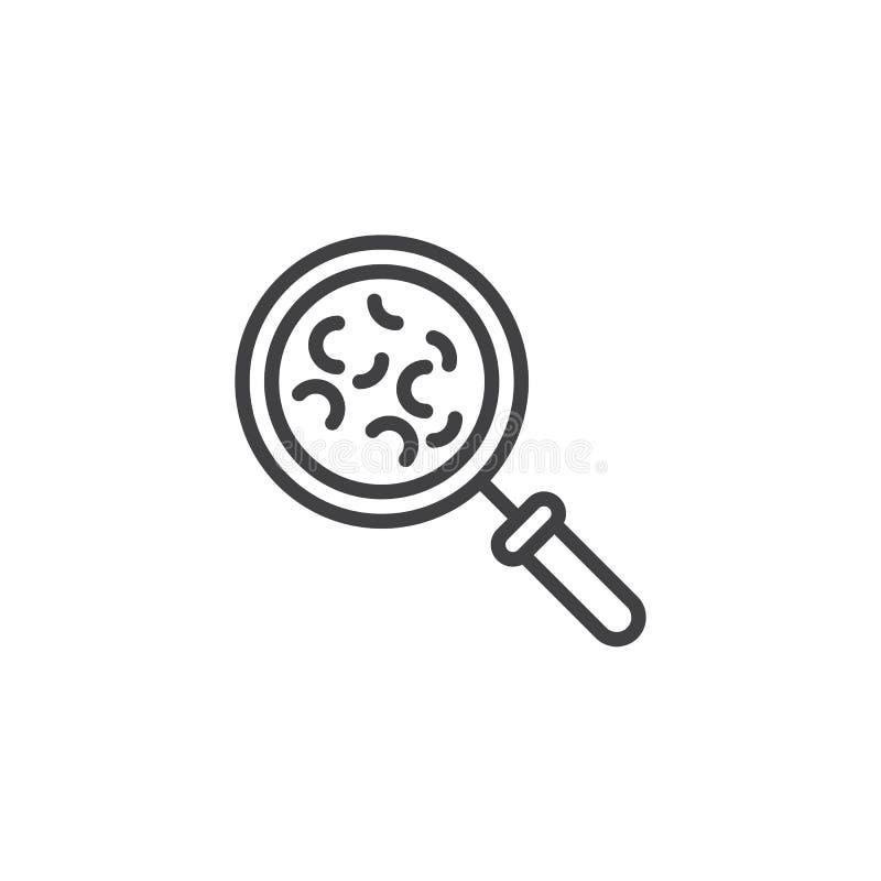 Linha bacteriana ícone da pesquisa do micro-organismo ilustração do vetor