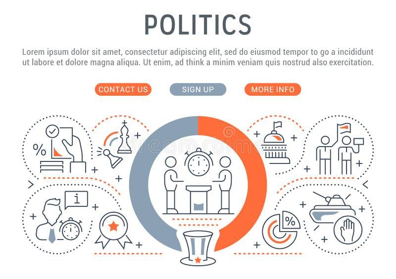 Linha bandeira da política ilustração stock
