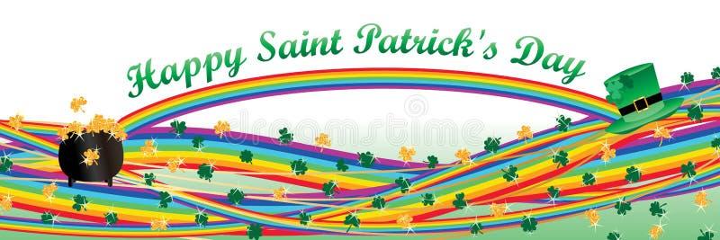 Linha bandeira do arco-íris do trevo do dia do ` s de St Patrick ilustração do vetor