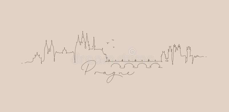 Linha bege da pena de Praga da silhueta ilustração stock