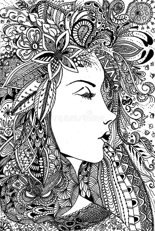 Linha bonita desenho da mulher da arte ilustração stock