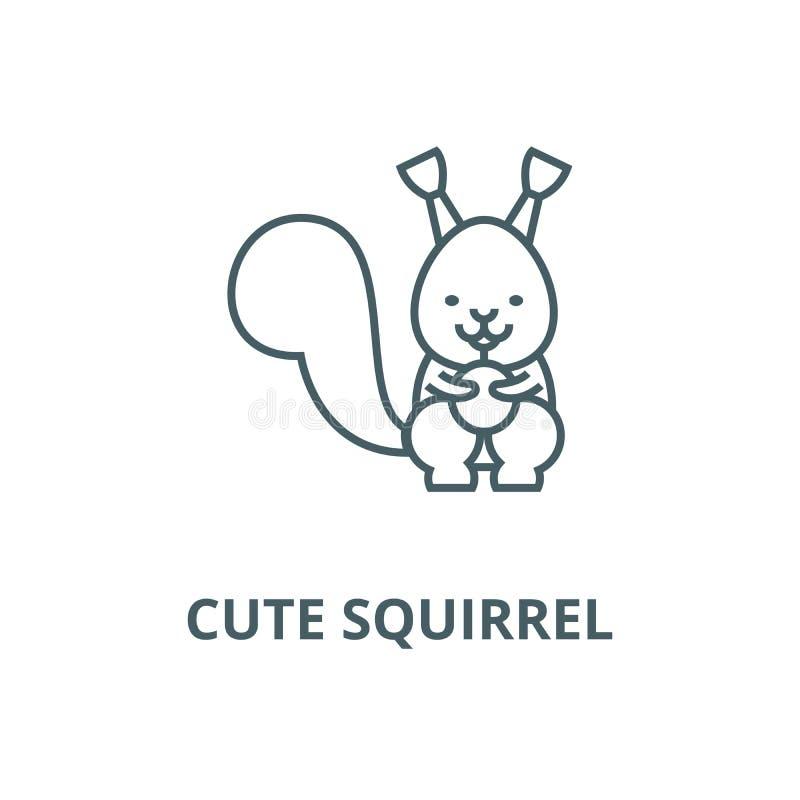 Linha bonito ícone do esquilo, vetor Sinal bonito do esboço do esquilo, símbolo do conceito, ilustração lisa ilustração stock