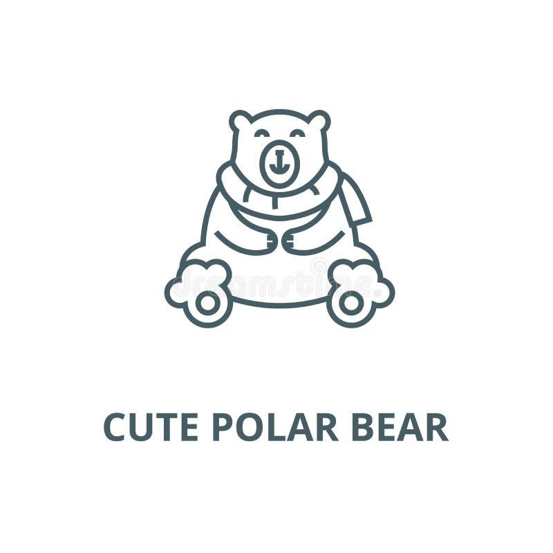 Linha bonito ícone do urso polar, vetor Sinal bonito do esboço do urso polar, símbolo do conceito, ilustração lisa ilustração stock
