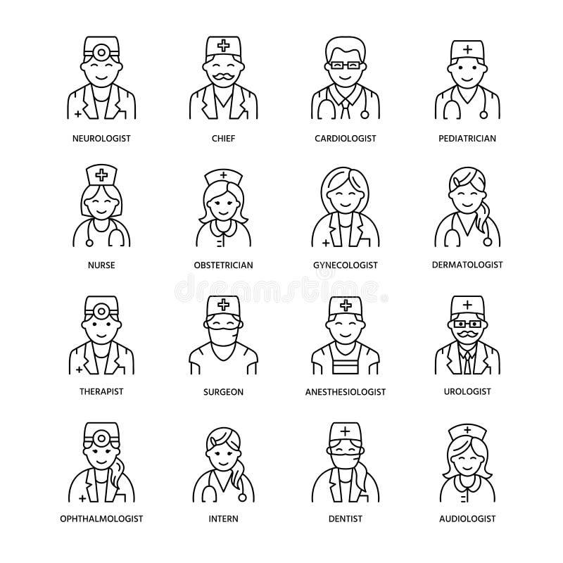 Linha bonito ícone do vetor de doutor Hospital, logotipo linear da clínica Esboce o sinal médico - cirurgião, cardiologista, dent ilustração royalty free