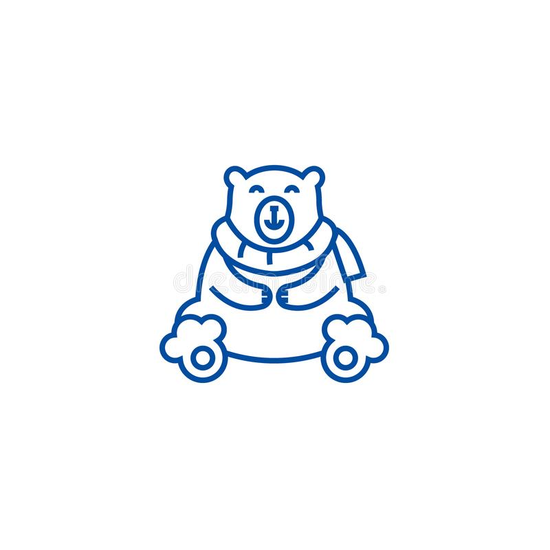 Linha bonito conceito do urso polar do ícone Símbolo liso bonito do vetor do urso polar, sinal, ilustração do esboço ilustração stock