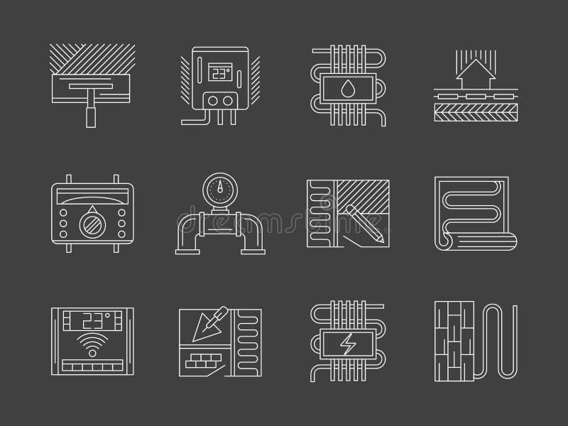 Linha branca ícones do sistema morno do assoalho ajustados ilustração do vetor