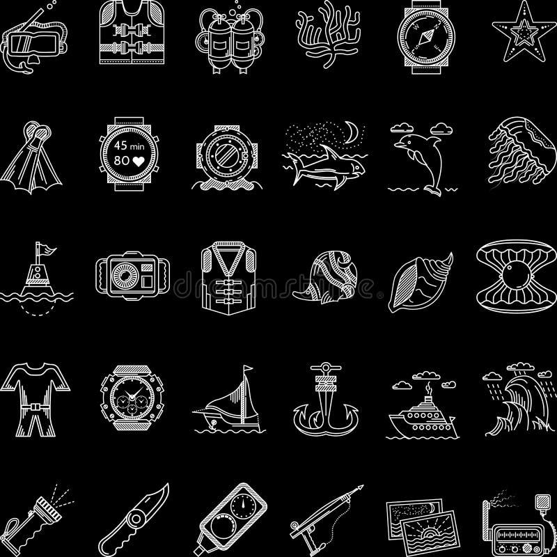 Linha branca coleção do mergulho autônomo dos ícones ilustração stock