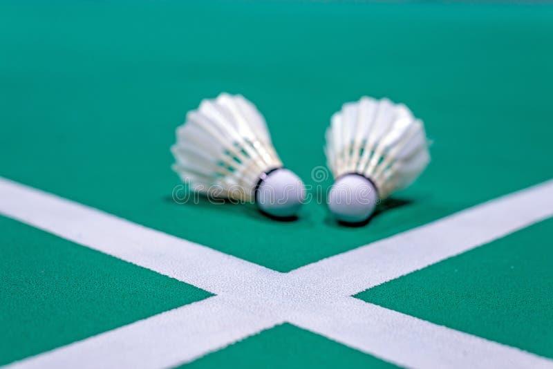 linha branca do badminton com a peteca borrada na corte verde imagem de stock