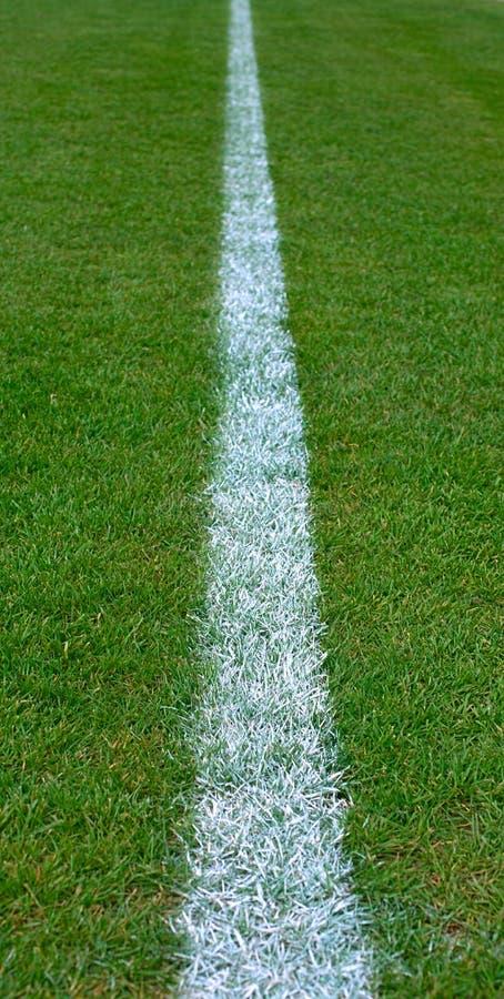 Linha branca pintada no campo de grama vazio do futebol foto de stock