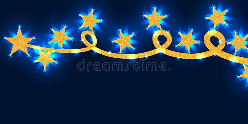 Linha brilho da estrela do ouro que salta a bandeira brilhante azul RGB ilustração stock