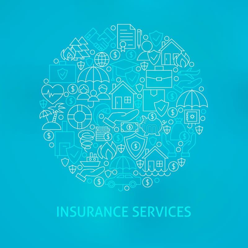 Linha círculo dos ícones dos serviços de seguro ilustração stock